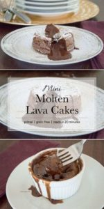 These molten lava cakes are completely grain-free and go from pantry to mouth in only 20 minutes. The perfect dessert for any occasion (special or everyday). #primal