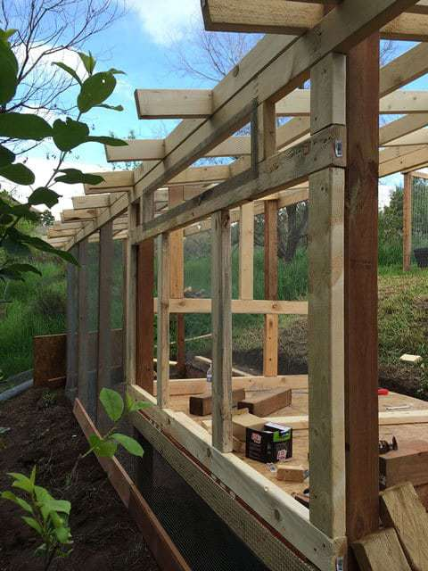 Process of Framed Chicken Coop side
