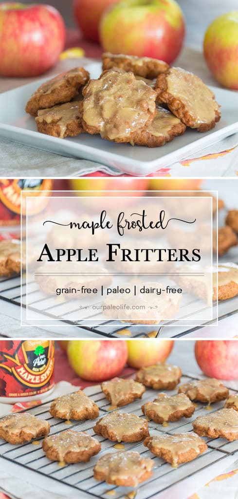 Golden and crispy on the outside, tender and juicy apples on the inside. These fritters are topped with a perfectly sweet maple frosting that compliments these spiced grain-free fritters perfectly.
