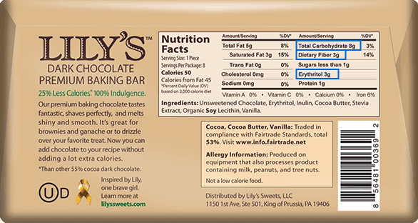 Lily's Chocolate Nutritional Facts