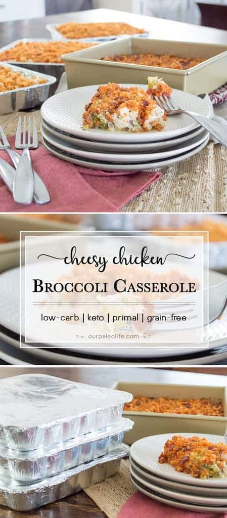 This Cheesy Chicken Broccoli Casserole has only 3g net carbs and is high in healthy fats thanks to MCT oil. Everyone in the family loves it so make extras to freeze and bake later.