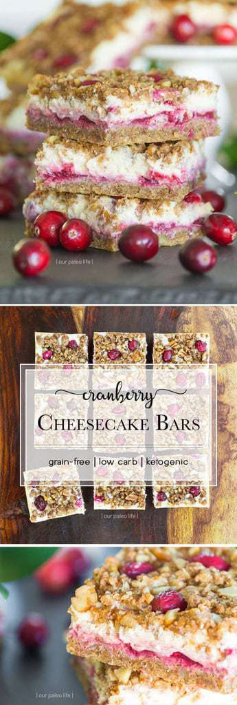 These cranberry cheesecake (low carb) Keto bars are delicious and filled with beneficial collagen protein, chia seeds and and MCT oil. Guilt free snack.