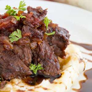 Braised Ribs over Mashed Potatoes