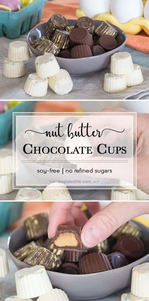 These nut-butter filled chocolate cups are the perfect treat for you Easter baskets. They contain all clean ingredients, no artificial colors or flavors, and are so easy to customize and make them all your own.