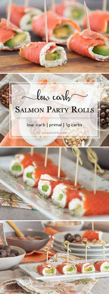 These low-carb Salmon Party Rolls give you all the fantastic flavor of smoked salmon, plus a boost of added fats from the avocado, and creamy goodness from the herb cream cheese.